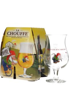 La Chouffe Blond 4-Pack + Gratis Glas